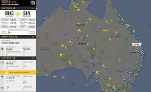 Flightradar over Australia